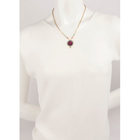 Trendy crystal and velvet necklace | Pink65954