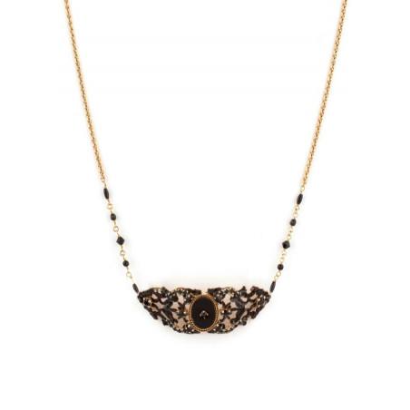 Collier chic perles et velours | Noir