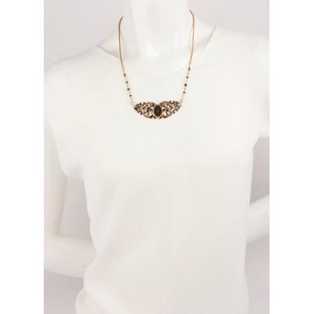 Collier chic perles et velours | Noir65974