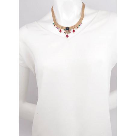 Collier féminin cristaux et velours | Bleu65994