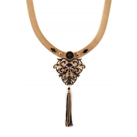 Collier luxueux perles et velours | Noir
