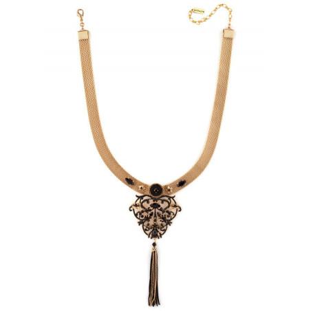 Collier luxueux perles et velours | Noir66009