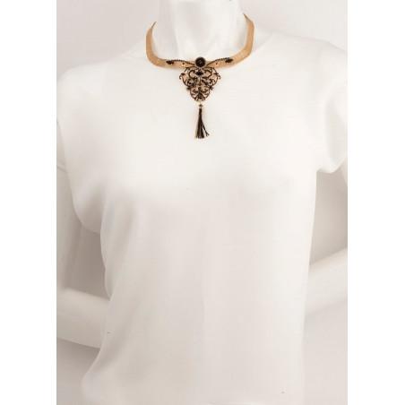 Collier luxueux perles et velours | Noir66010
