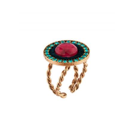 Feminine velvet and gold metal ring | Blue