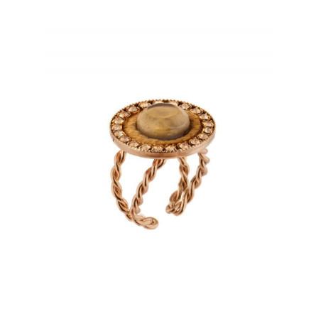 Light velvet and gold metal ring | Golden