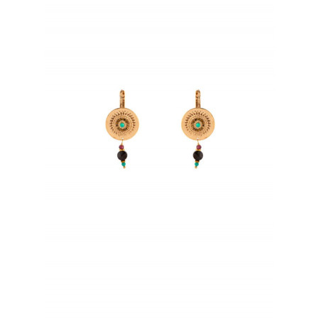 Trendy sleeper earrings with Turquoise crystals | Multicoloured