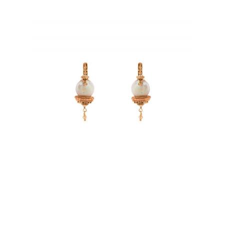 Boucles d'oreilles dormeuses raffinées perle de rivière et perle du Japon   Nacré