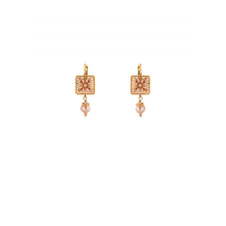 Glamorous sleeper earrings with freshwater pearls and Japanese beads   Mother-of-pearl