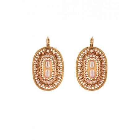 Boucles d'oreilles dormeuses délicates perle de rivière et métal doré | Nacré