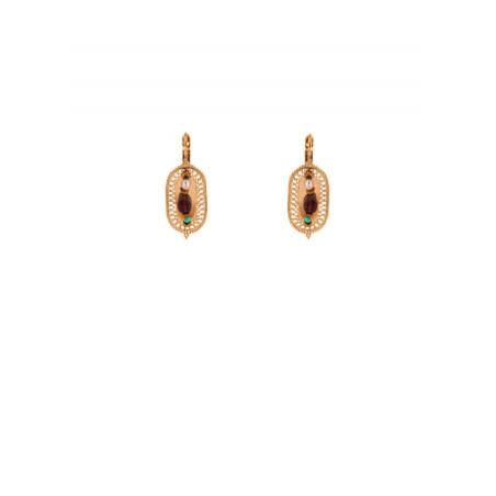 Boucles d'oreilles dormeuses tendance grenat et métal doré | Multicolore