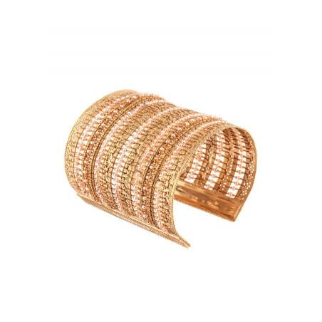 Bracelet manchette tendance perle de rivière et perle du Japon   Nacré