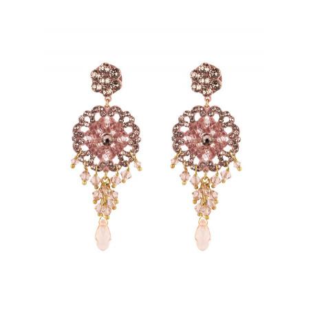 Boucles d'oreilles féminines en métal laqué et cristaux | Vieux rose