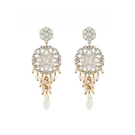 Boucles d'oreilles féminines en métal laqué et cristaux | Blanc