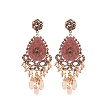 Boucles d'oreilles glamour en métal laqué et cristaux | Vieux rose