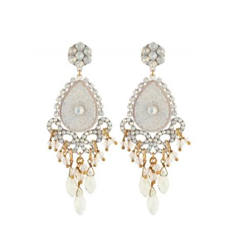 Boucles d'oreilles glamour en métal laqué et cristaux   Blanc