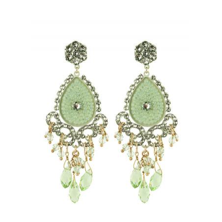 Boucles d'oreilles glamour en métal laqué et cristaux | Aqua