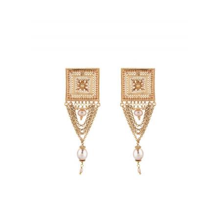 Boucles d'oreilles à clips féminines perle de rivière et métal doré | Nacré