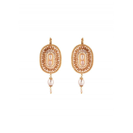 Original sleeper earrings with freshwater pearls and Japanese beads   Mother-of-pearl