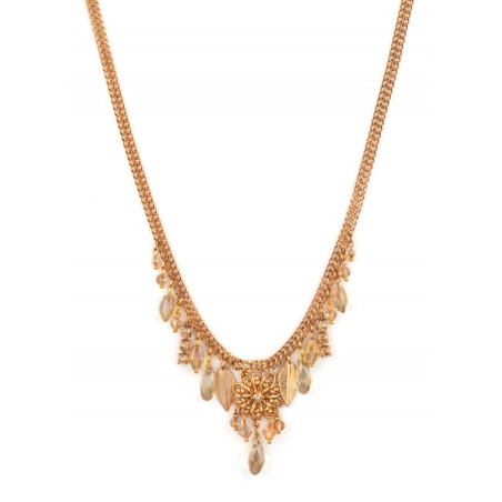 Fashionable crystal and Japanese bead necklace| Golden