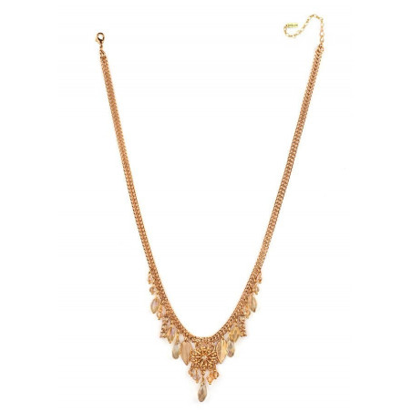 Fashionable crystal and Japanese bead necklace| Golden66952