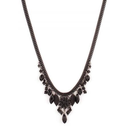 Collier mode cristaux et perles du Japon   Noir