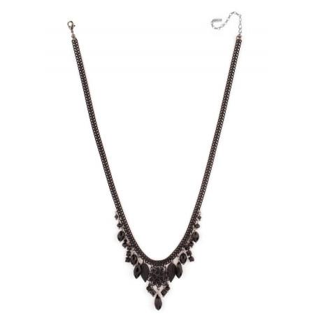 Collier mode cristaux et perles du Japon   Noir66957