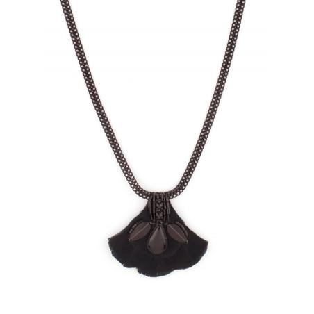 Collier élégant cristaux et plumes   Noir