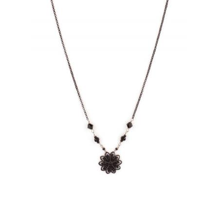 Collier féminin cristaux et plumes   Noir