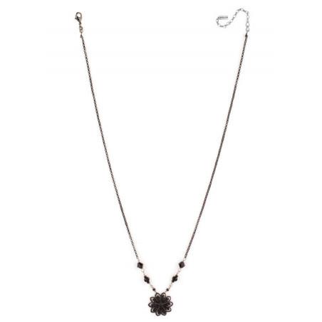 Collier féminin cristaux et plumes   Noir66977