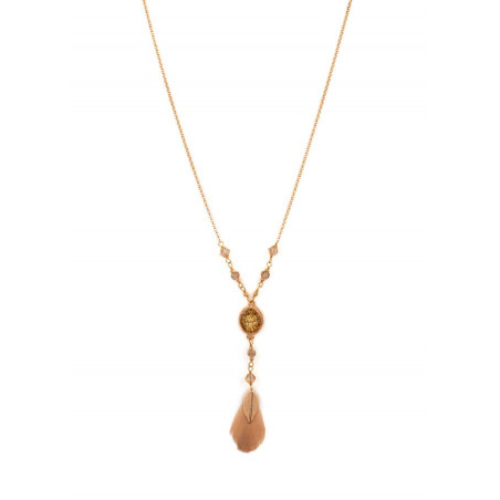 Glamorous necklace with crystals and feathers | Golden