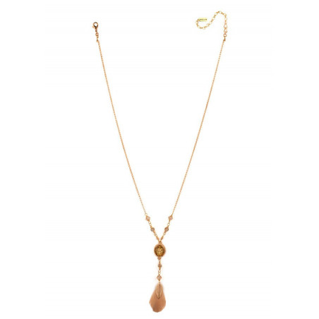 Glamorous necklace with crystals and feathers | Golden66982