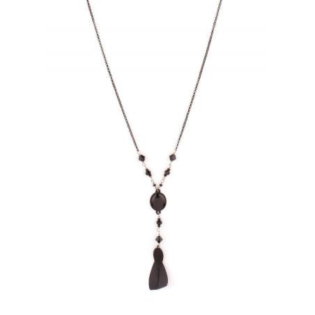 Collier chic cristaux et plumes | Noir