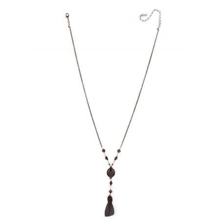 Collier chic cristaux et plumes | Noir66987