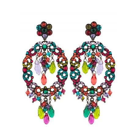 Boucles d'oreilles délicates en métal laqué et cristaux | Multicolore