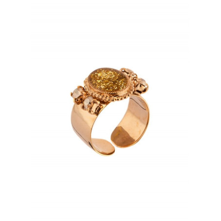 Sparkling ring with crystals and lacquered metal | Golden