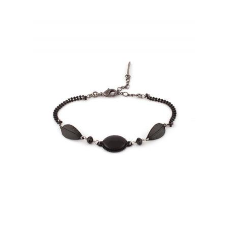 Bracelet tendance métal laqué et perles   Noir