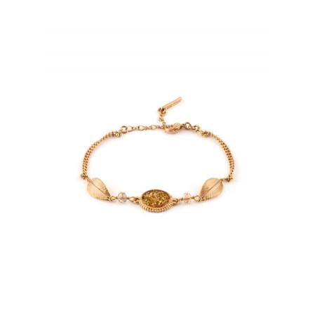 Bracelet brillant métal doré et perles | Doré