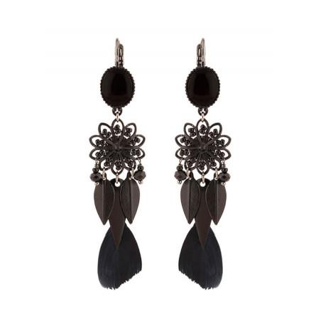 Boucles d'oreilles dormeuses mode perles et plumes   Noir