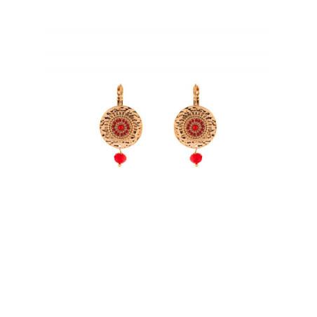 Elegant gold-plated metal bamboo sleeper earrings  red