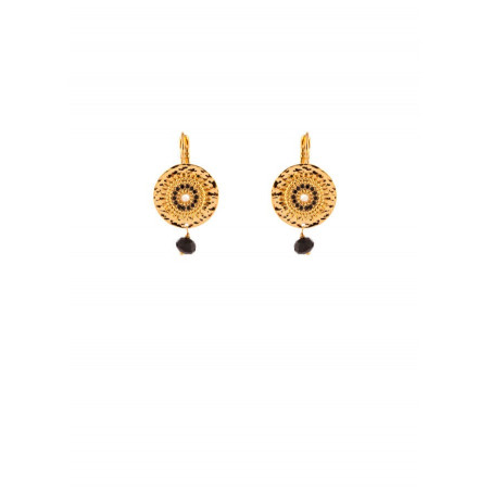 Urban gold-plated metal and mother-of-pearl sleeper earrings khaki