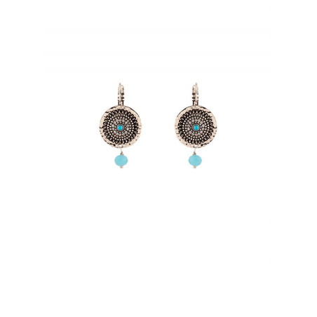 Fashionable silver metal and turquoise sleeper earrings | Blue