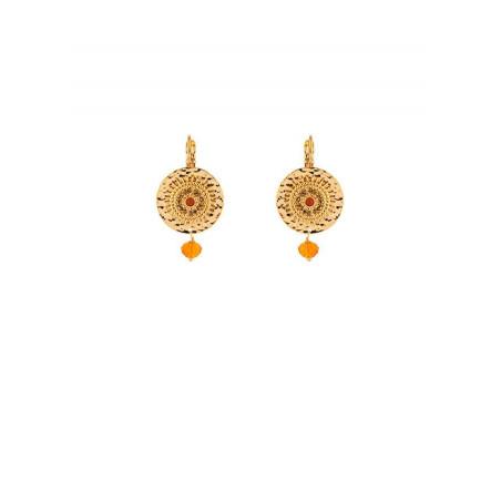Feminine gold metal and carnelian sun sleeper earrings   red