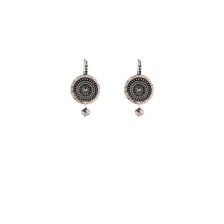 Urban gold-plated metal and haematite sleeper earrings silver