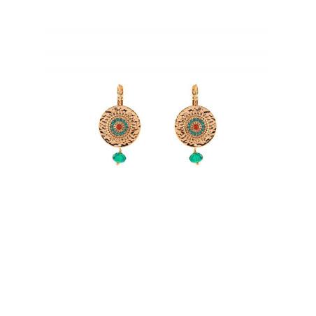 Ethnic gold metal carnelian sleeper earrings | Blue