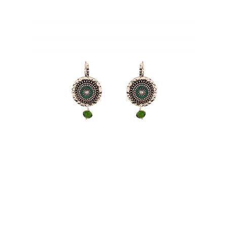 Boucles d'oreilles dormeuses bohèmes métal argenté | vert