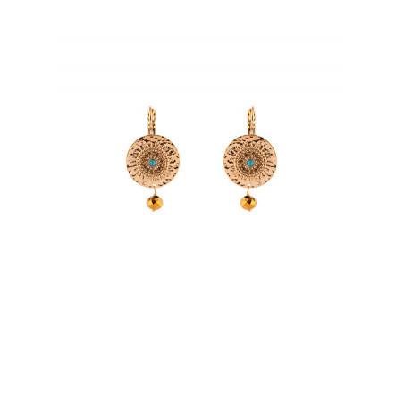 On-trend gold metal turquoise sleeper earrings  blue