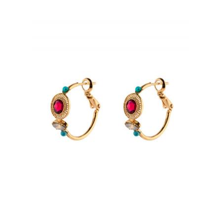 Boucles d'oreilles créoles chic turquoise | rouge