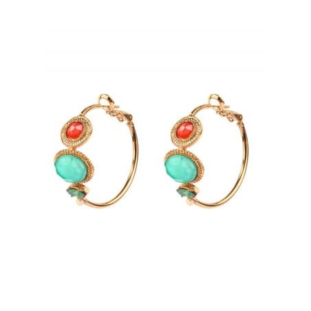 Boucles d'oreilles créoles féminines amazonite | turquoise