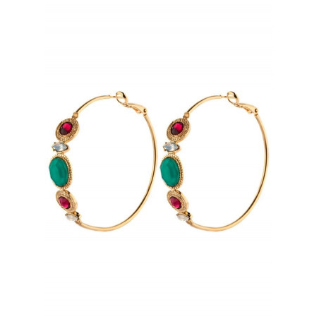 Hoop earrings with crystals and turquoise |red
