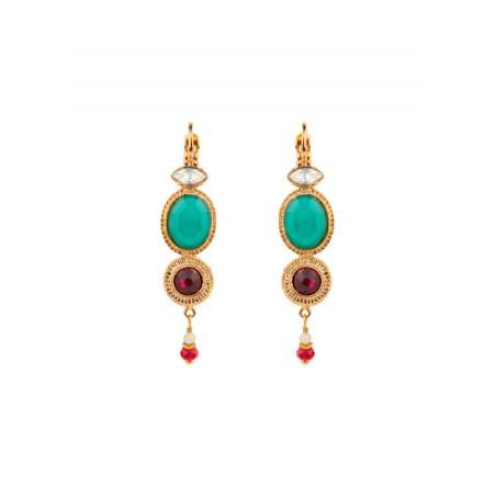 Boucles d'oreilles dormeuses raffinées nacre jade | turquoise